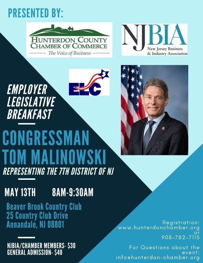 Rep. Malinowski to speak at Employer-Legislative Breakfast on Monday, May 13