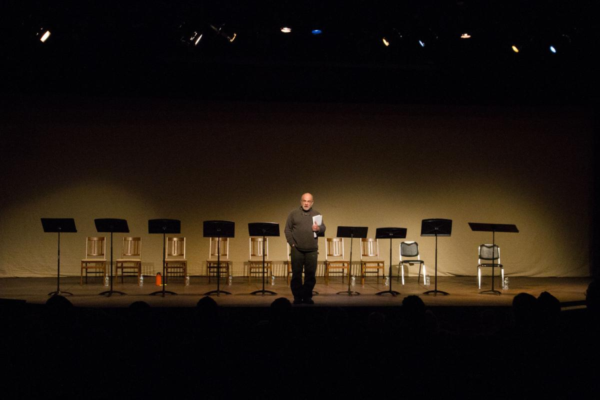 Writers Theatre of New Jersey Artistic Director, John Pietrowski, welcomes the audience to one of the Soundings play readings.