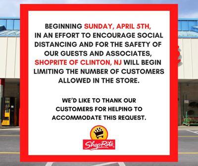 ShopRite of Clinton, Flemington begin limiting customers on Sunday, April 5