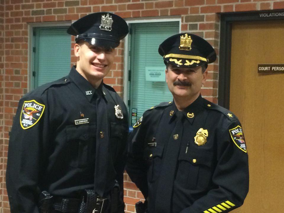 New Morris Twp. Patrolman Robert Dombrowski, left, with Police Chief John McGuiness