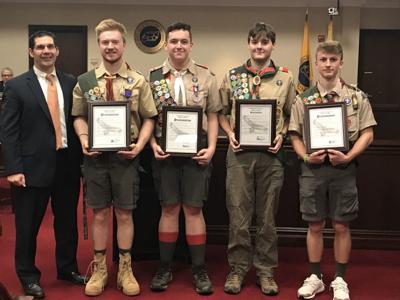Long Hill celebrates five Eagle Scouts