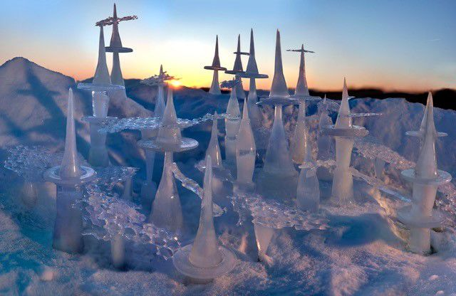 """Image:   Kathryn Vajda """"Avon 2.19.19 Ice City""""  Ink Jet Print, constructed using ice, snow and disposable packaging as molds, 2019"""