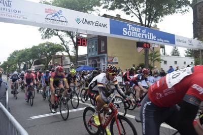 Riders start a recent Tour of Somerville