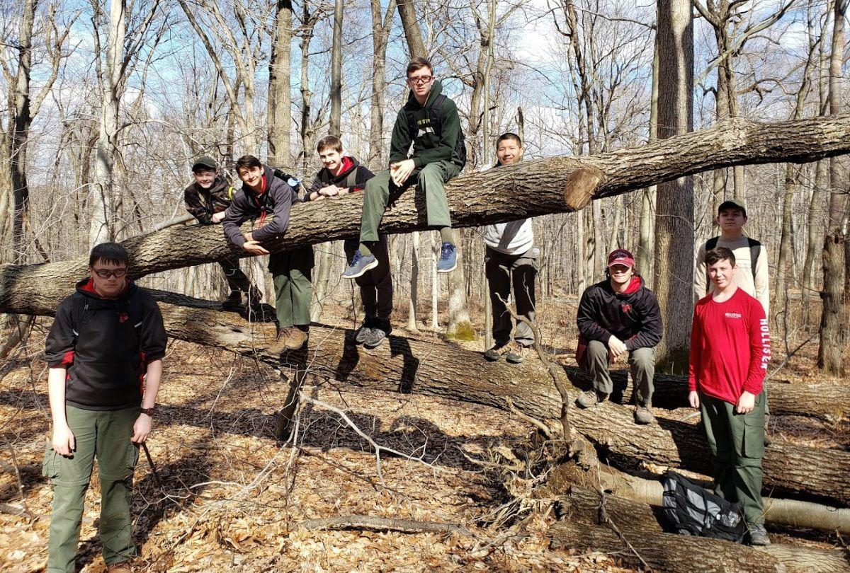 Boy Scout Troop 200 hikes Historic Jockey Hollow in Morristown's National Historic Park