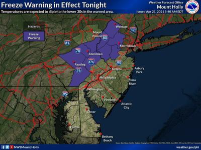 Thunderstorms predicted for today, Wednesday, April 21, followed by overnight freeze