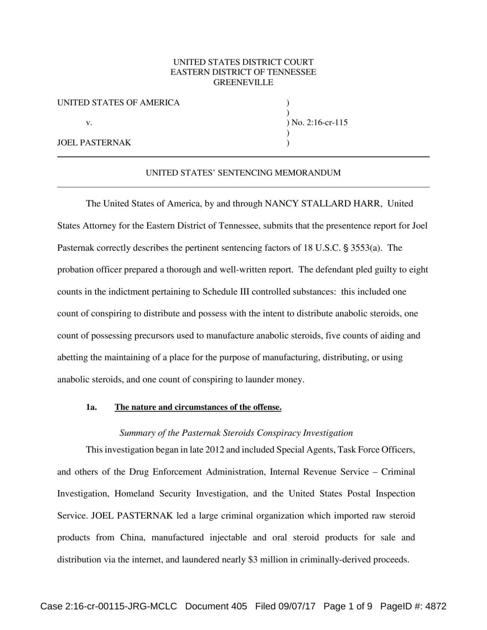 Pasternak sentenced in steroid organization conspiracy | News