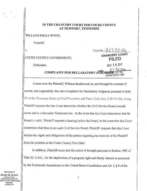 Smallwood Complaint For Declaratory Judgment News
