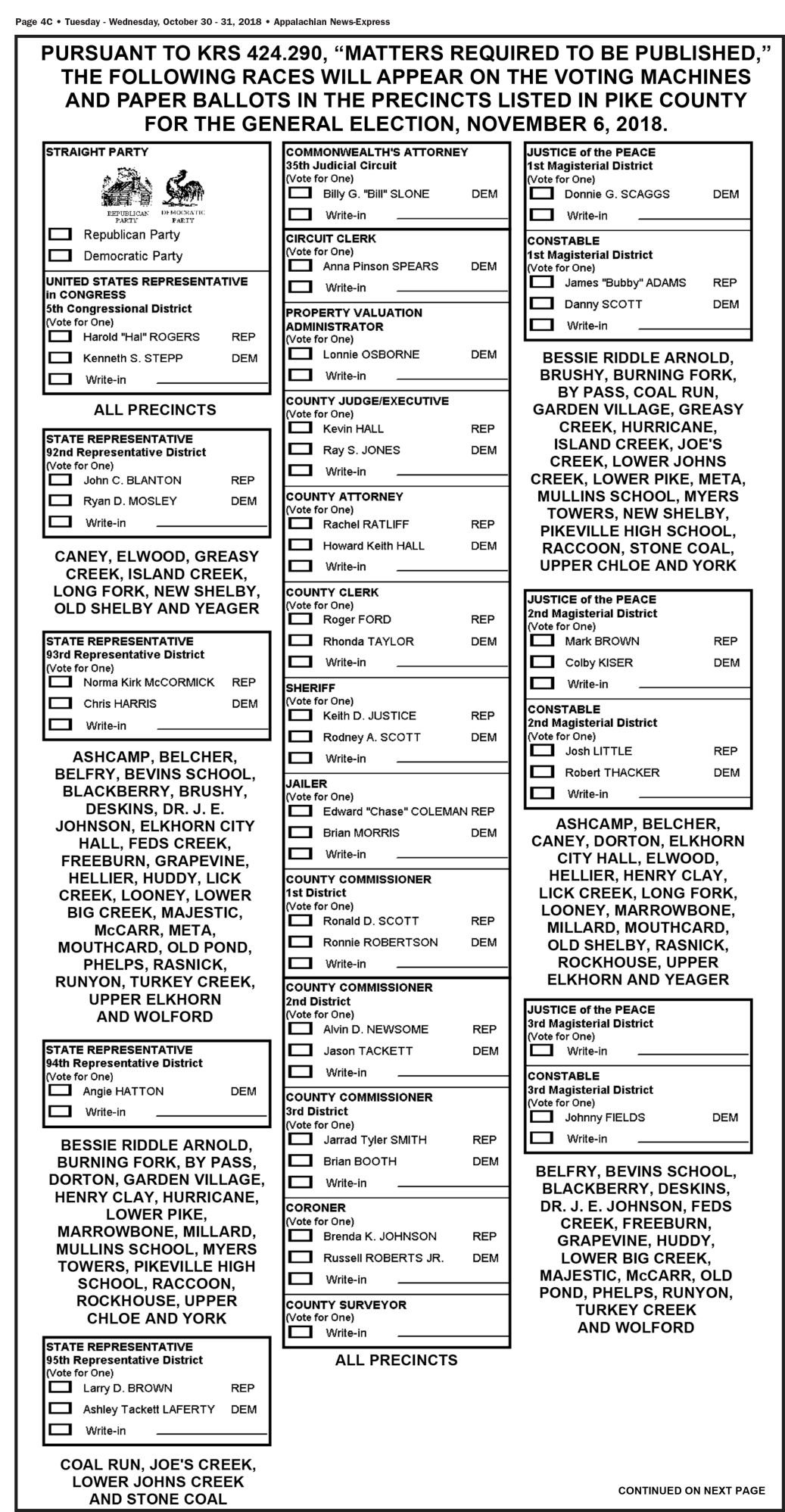 Sample Ballot | News | news-expressky com