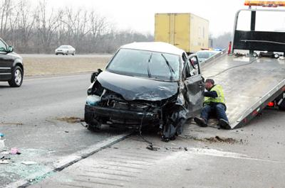 One injured in I-64 accident, traffic backed up into Scott County