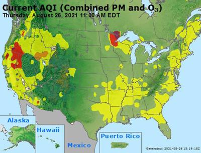 Air quality index – Aug. 26, 2021