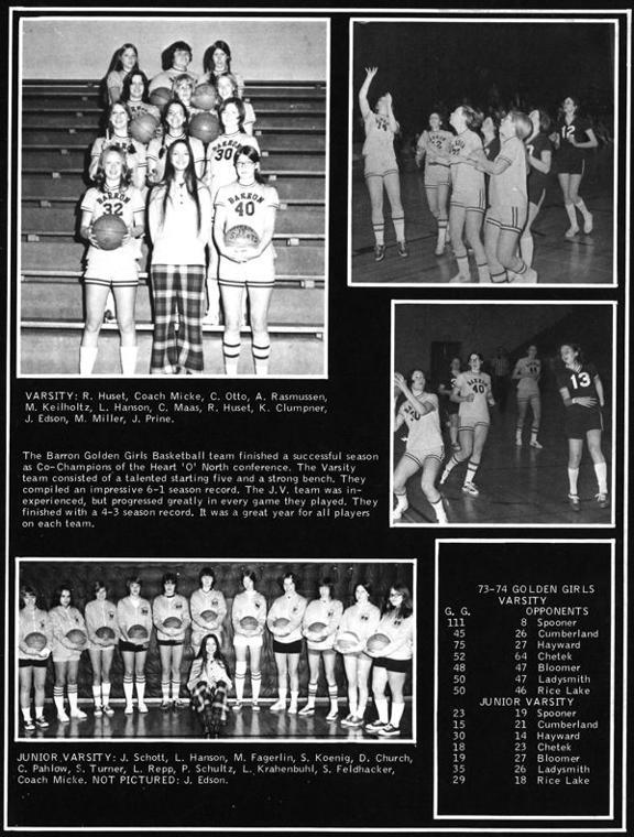 1973-74 Barron girls basketball