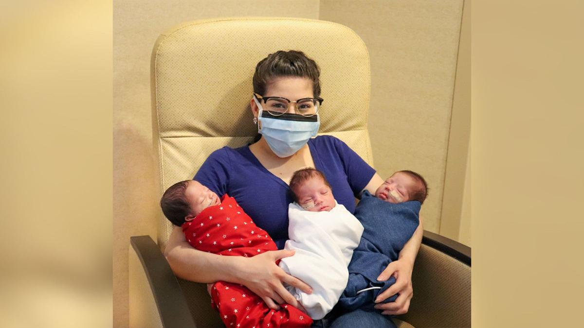 A Texas mom gave birth to triplets right after she beat Covid-19