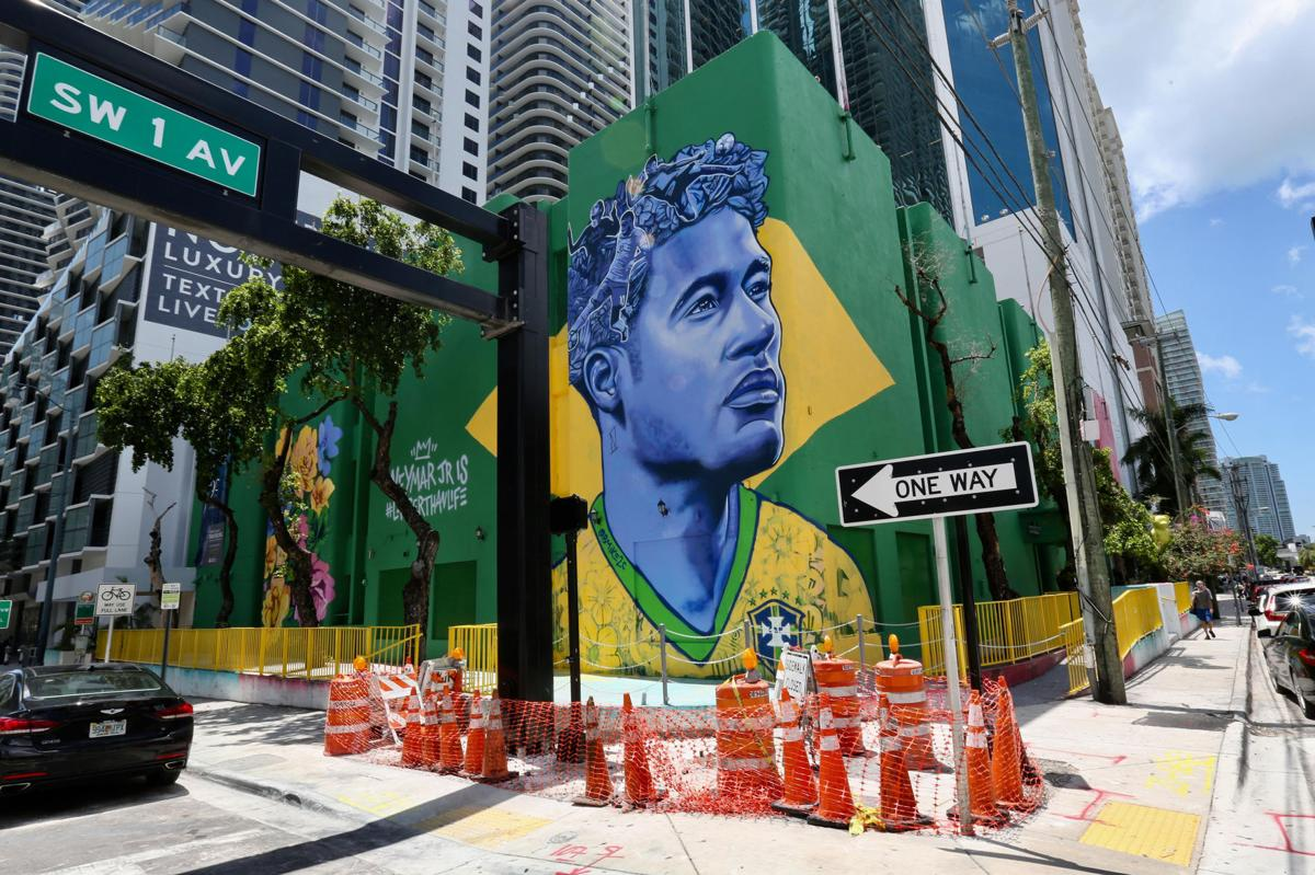 Mural of Brazilian soccer star Neymar on corner of SW 1st Avenue and 8th Street in Miami on June 6, 2018.