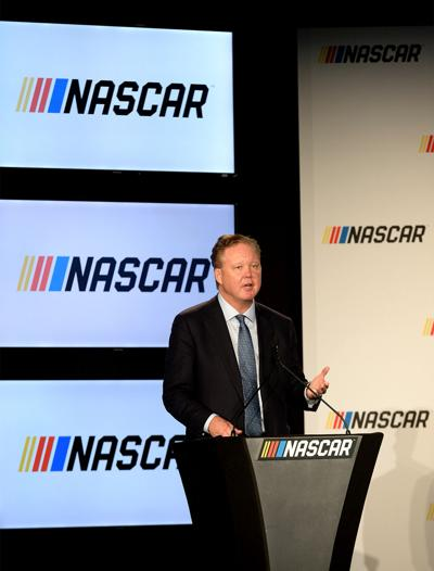 Brian France, CEO and chairman of NASCAR, gives opening remarks prior to an announcement detailing the enhanced competition format that will be implemented in all three of its national series -- the Monster Energy NASCAR Cup Series, the NASCAR XFINITY Series and the NASCAR Camping World Truck Series -- on Monday, Jan. 23, 2017 at the Charlotte Convention Center in uptown Charlotte, N.C.