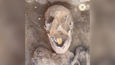 Mummies with golden tongues unearthed