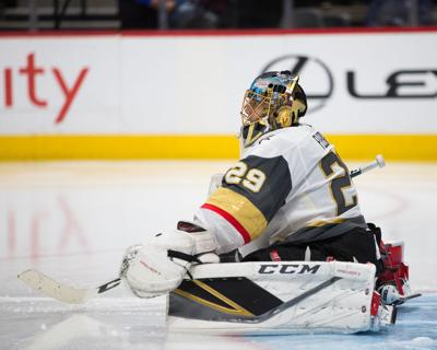 In this photo from March 24, 2018 Vegas Golden Knights goaltender Marc-Andre Fleury (29) on the ice during the second period against the Colorado Avalanche at the Pepsi Center Arena in Denver, Colo.