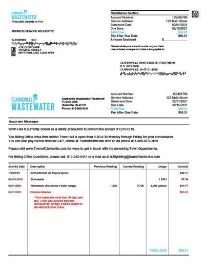 Clarksville Wastewater billing
