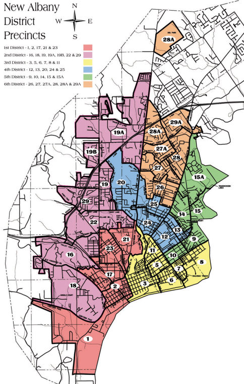 Albany Indiana Map.New Albany City Council Map 2007 Newsandtribune Com