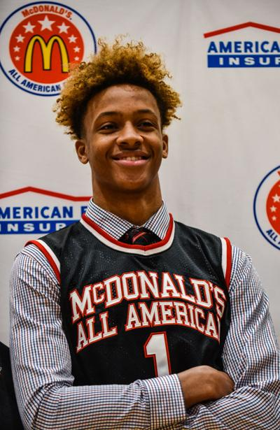 a4a4036a918 Romeo Langford McDonalds All American-9. Romeo cracks a smile while  standing before the New Albany High ...