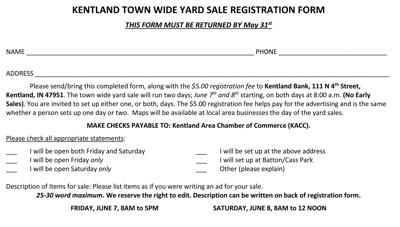 Kentland Town Wide Yard Sales will run June 7 and 8 | Local