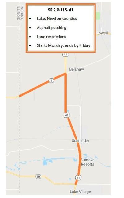 Map of roadwork