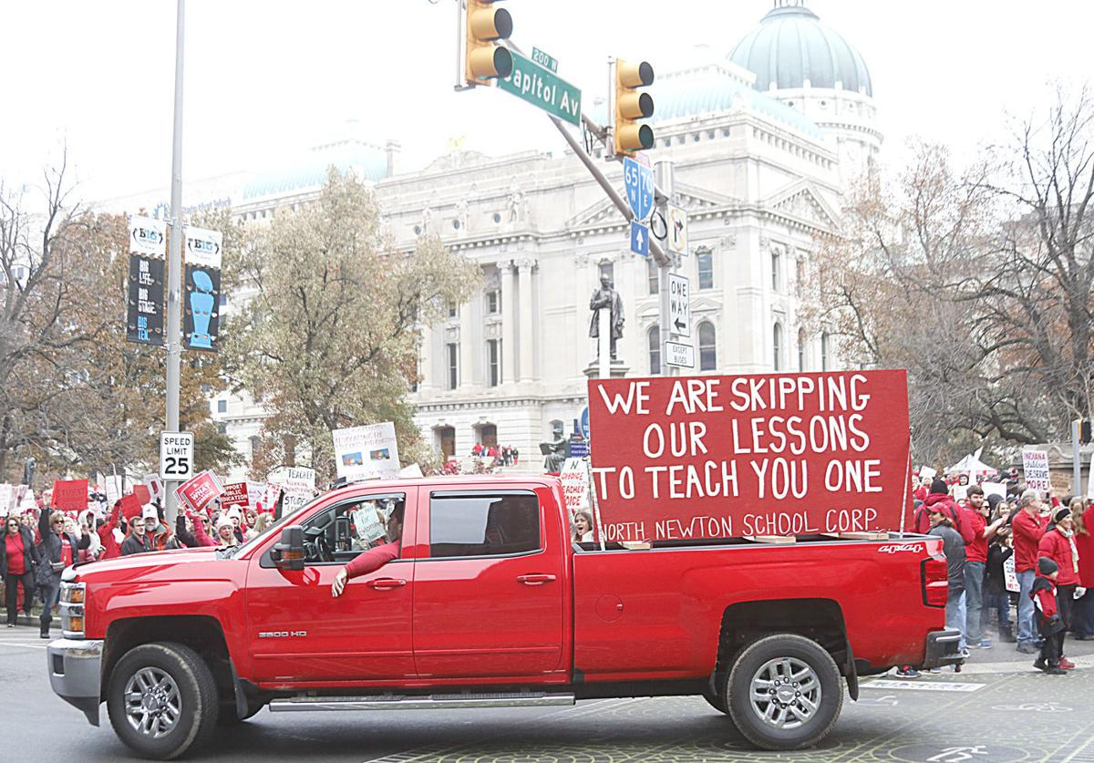Teacher rally truck