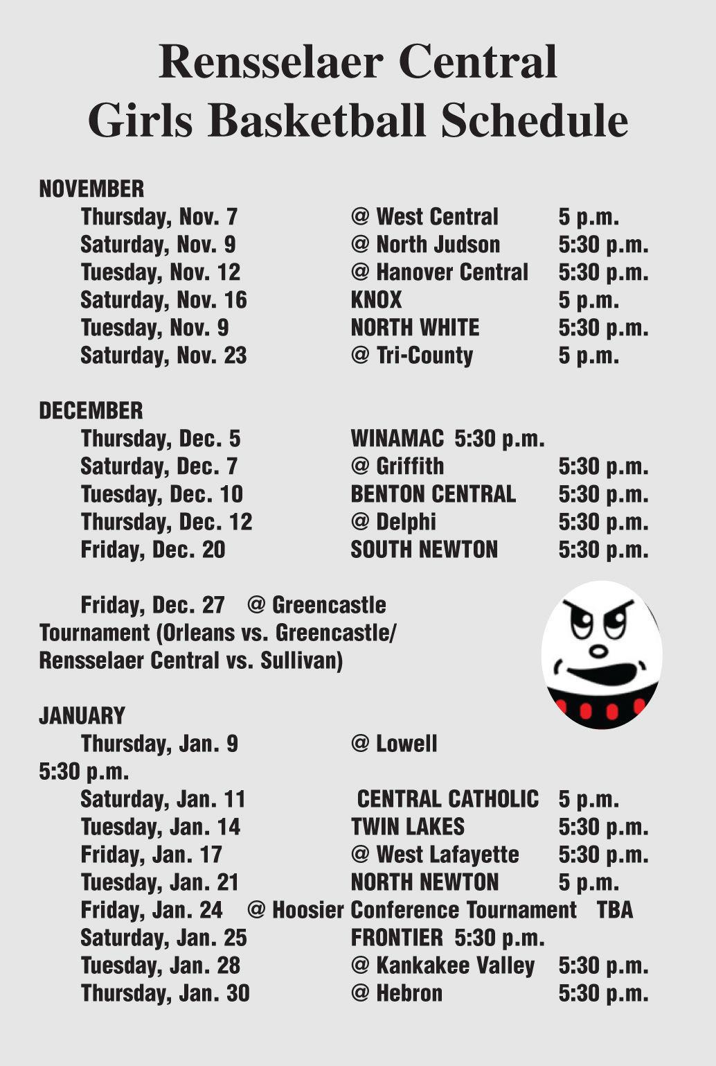 RCHS girls' basketball 2019-20 schedule