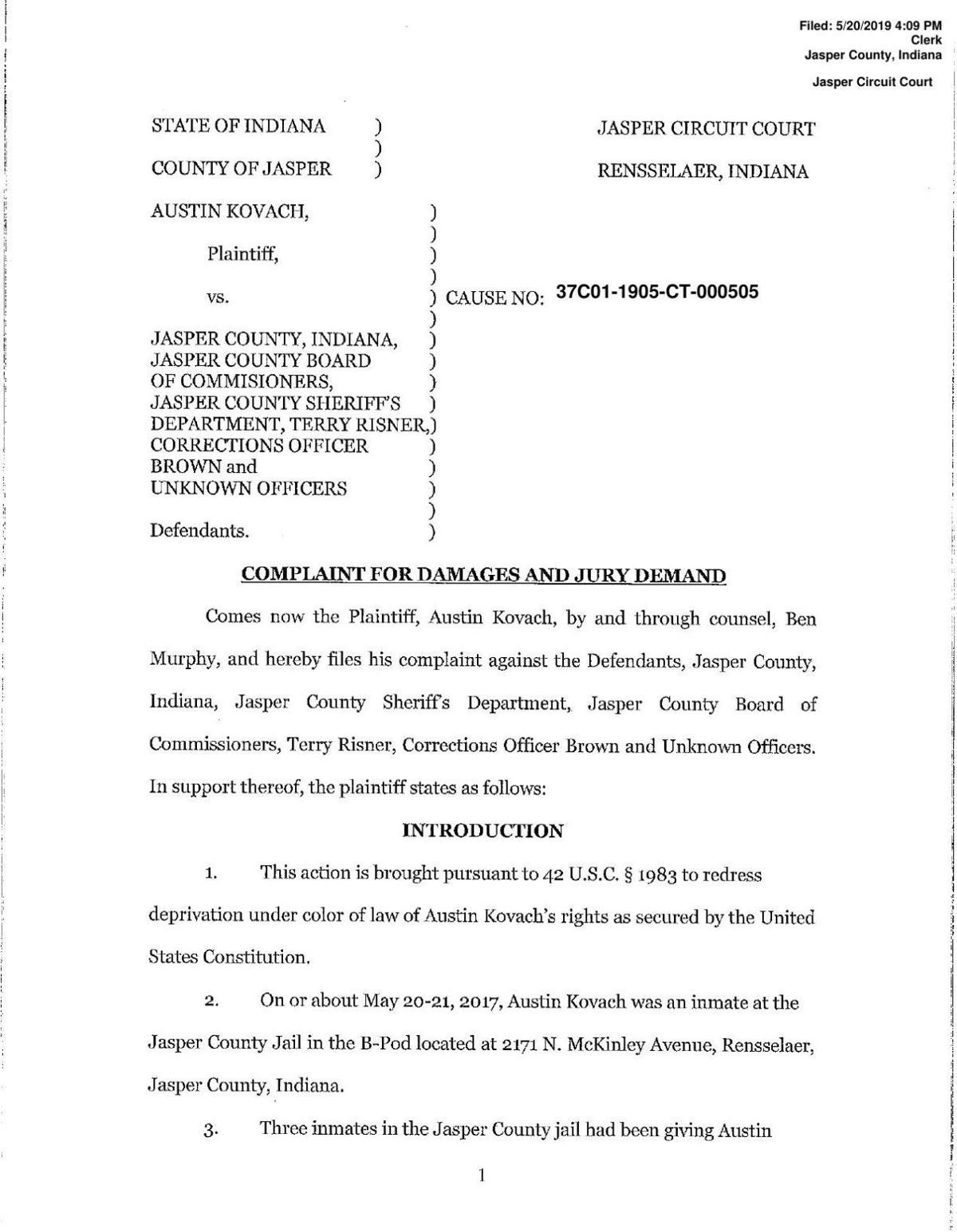 Kovach complaint vs  Jasper County | | newsbug info