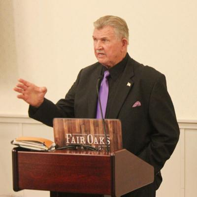 7a9004b0ff1 Legendary football coach Mike Ditka at the Inaugural Purple Tie Dinner for  Saint Joseph's College, held at the Farmhouse Restaurant of Fair Oaks Farms  on ...