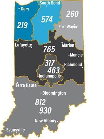 Indiana area code map