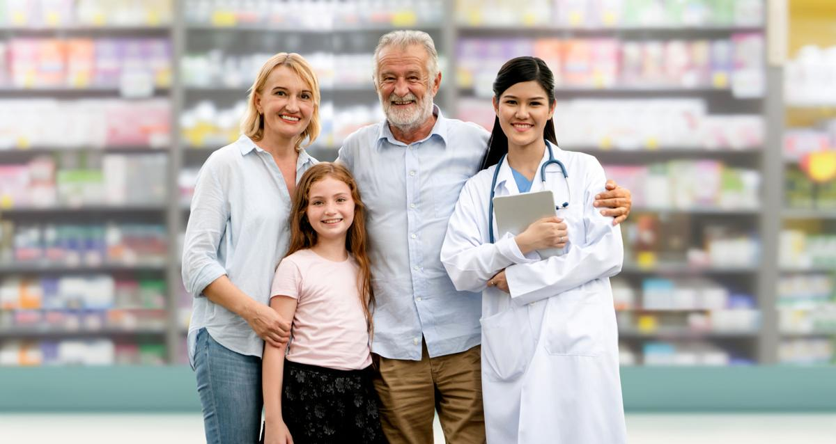 Doctor with happy family of mother, father and daughter at the pharmacy or hospital. Medical healthcare and doctor service.