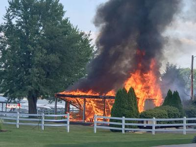 Picnic shelter fire