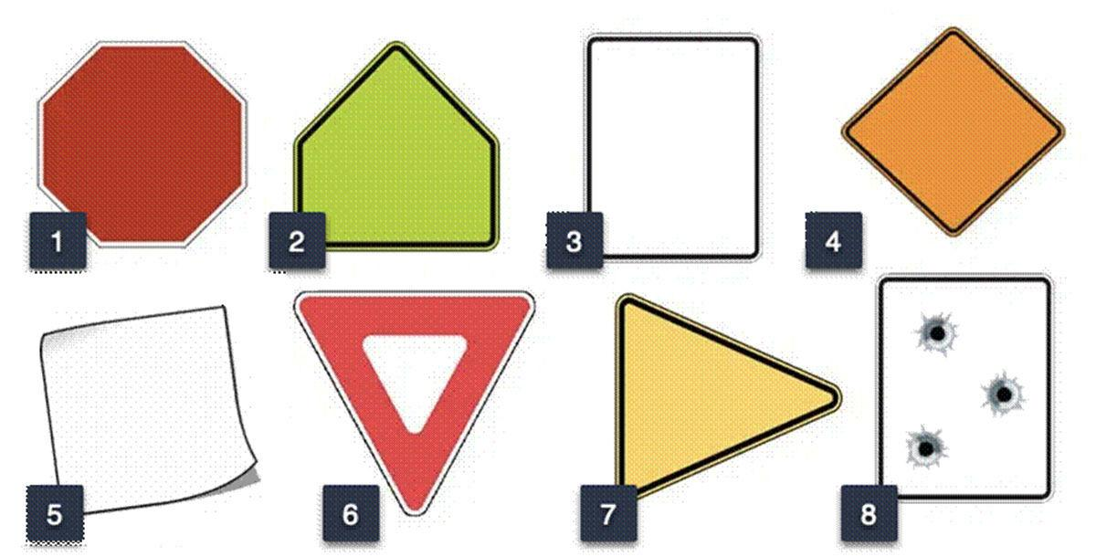 Can you identify these road sign shapes?