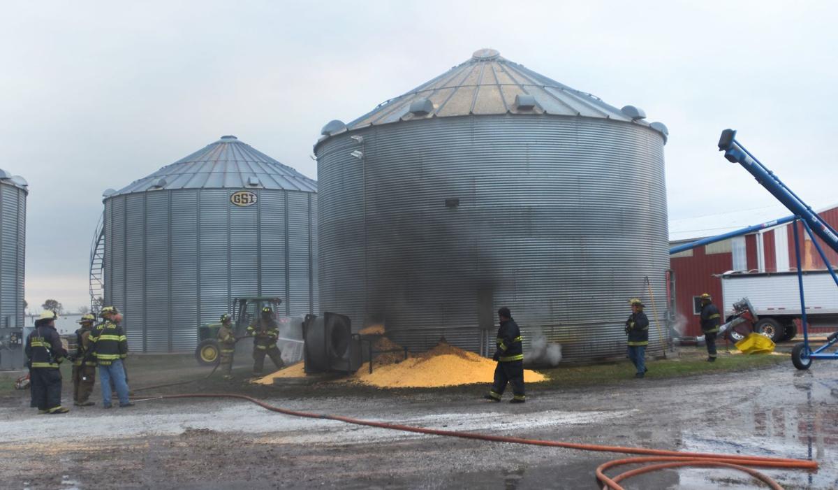 Grain bin fire