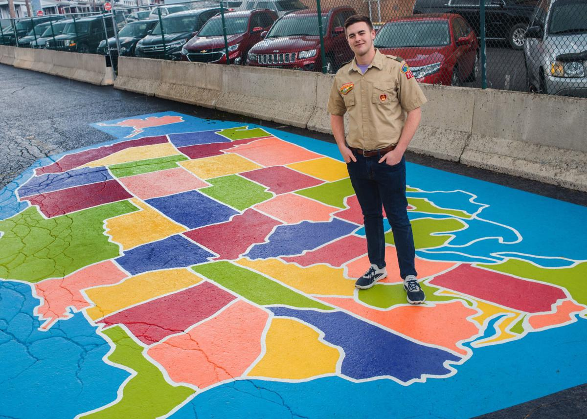 Boy Scout paints large map of United States at Annex