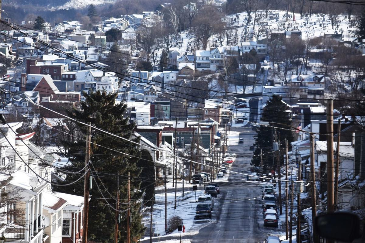 Snowy view from atop Spruce St.