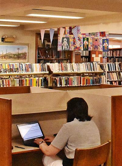 Library patron closeup