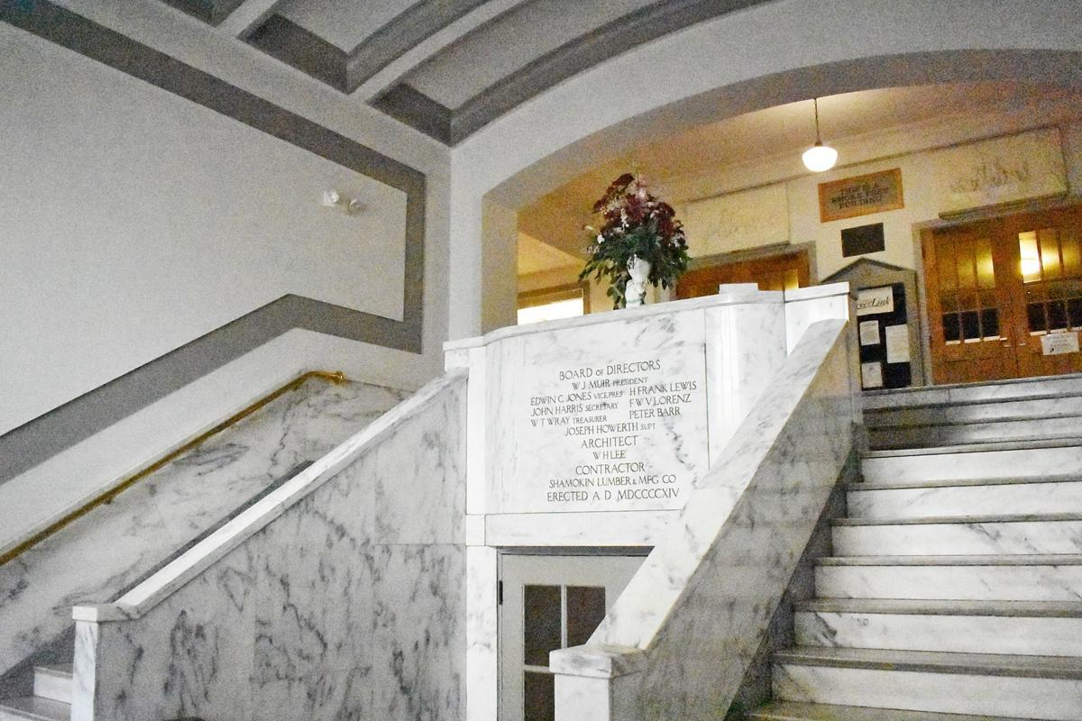 NCCAC marble foyer view looking toward stairwell