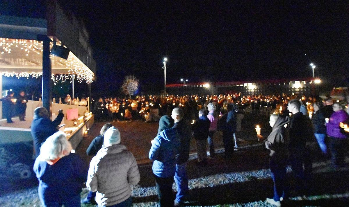 Stage and crowd at Parker vigil