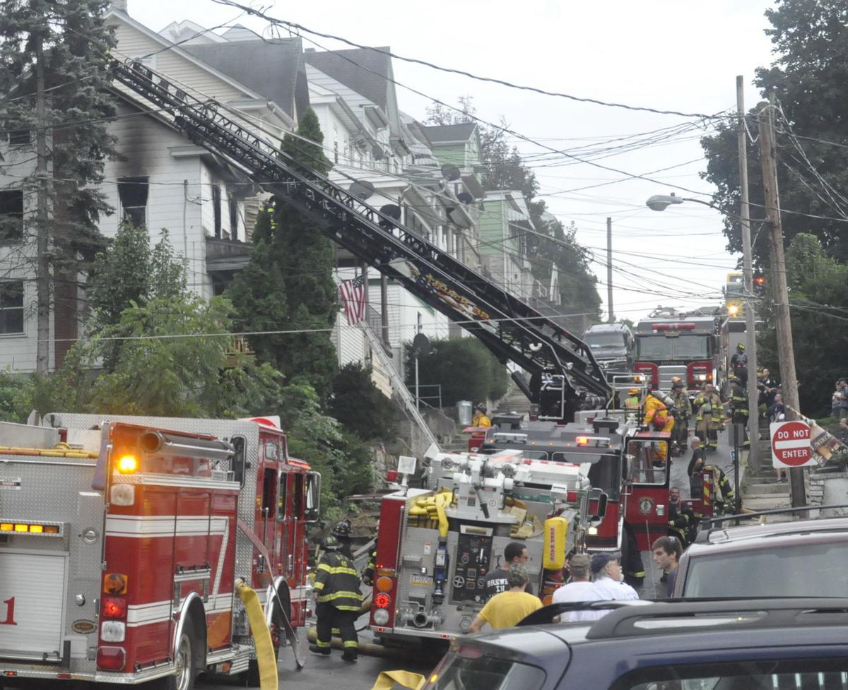 Firetrucks lining Seventh Street