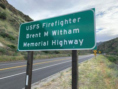 Sign installed on Highway 38, renaming section in memory of Firefighter Brent Witham