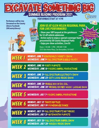Excavate Something Big Summer Reading Program at Glen Helen Regional Park