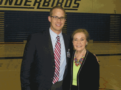 Event coordinator YHS teacher John Taylor with Marion Blumenthal-Lazan