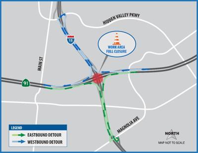Nighttime full closures on 91 at 15 interchange tonight