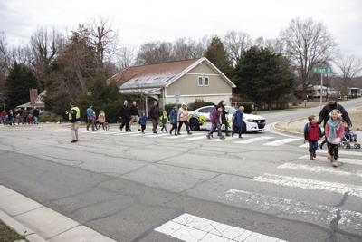 HES students and staff walk to school