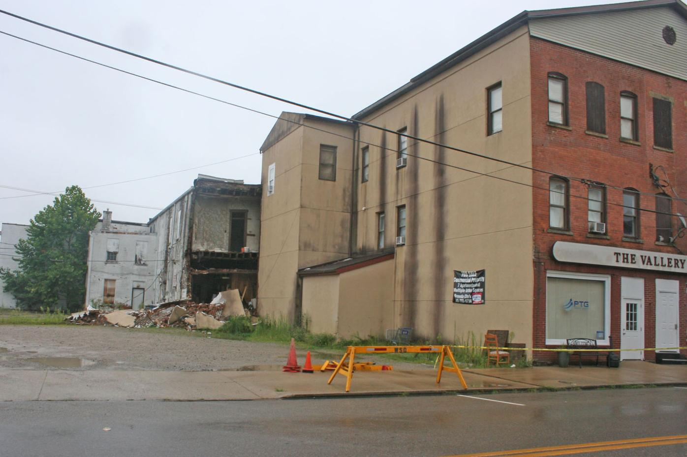 Vallery building collapse - collapsed section wide view