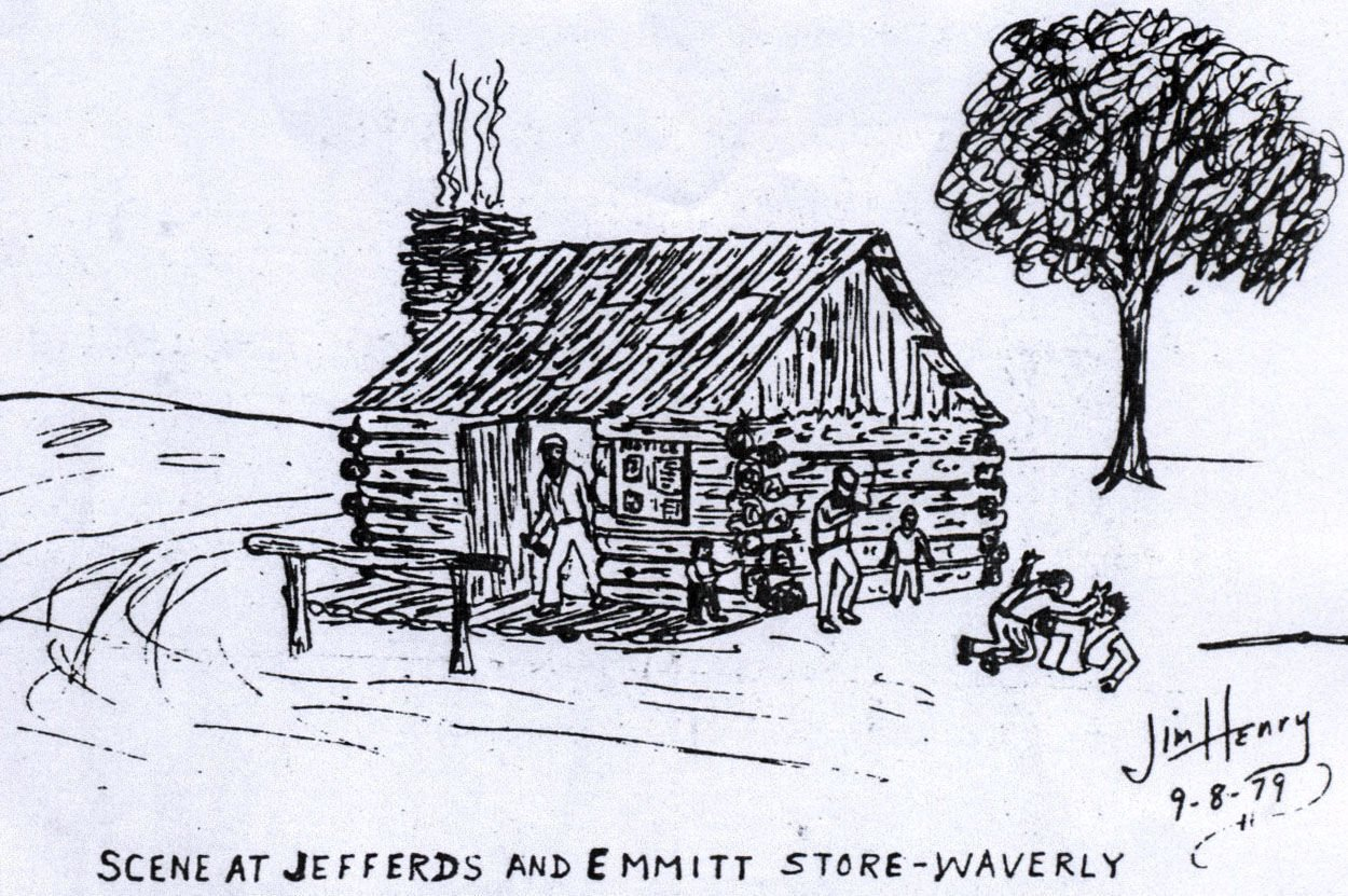 Jim Henry's sketch of Jefferds and Emmitt store from 1979