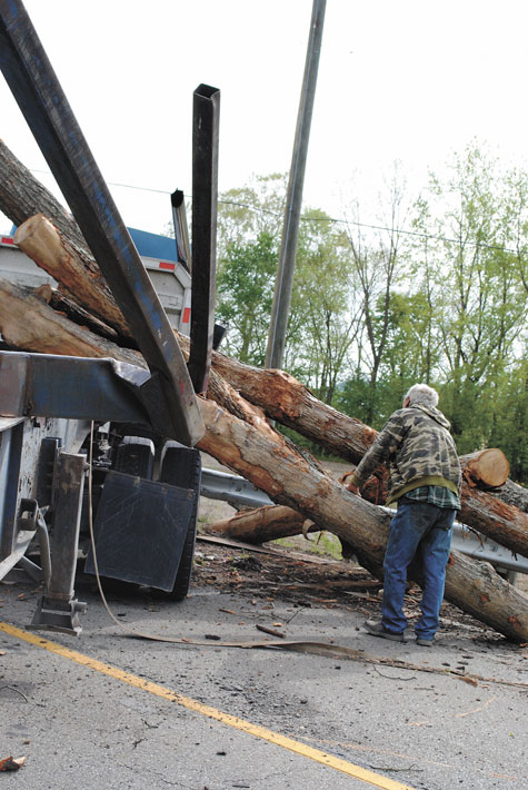 Wrecked Rt Charger: Logging Truck Wreck Closes State Route 104 For Hours