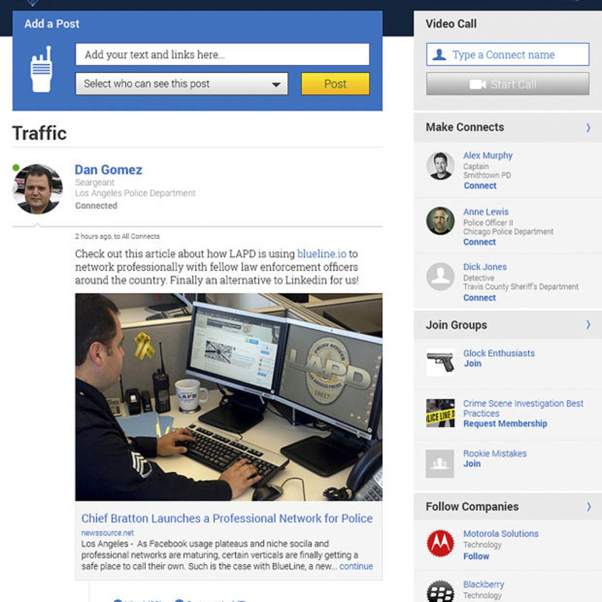 Cops getting their own social media network: BlueLine