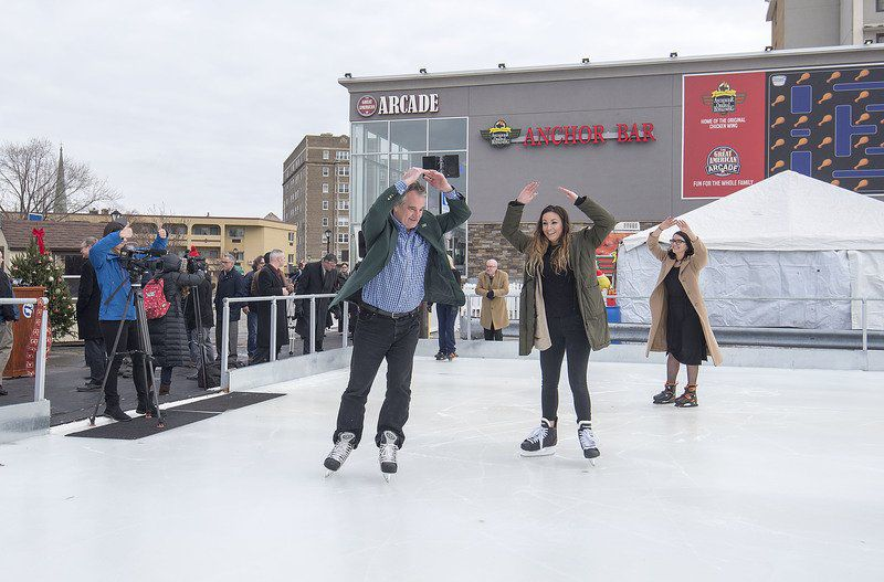 Officials gather to open Rainbow Ice Skating Rink